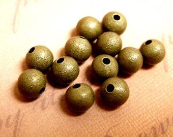 24pc 4mm Antique Bronze Finish Metal Stardust Beads-2229