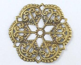 10pc 54mm antique bronze metal filigree center piece/wraps-6904