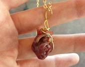 Anatomical heart necklace glass