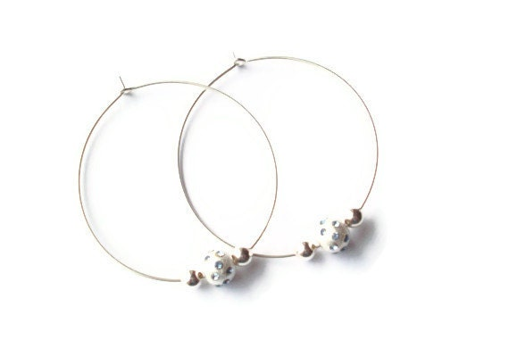 Sterling Silver Beaded Hoops Featuring Sterling Stardust Beads with Light Blue Crystals