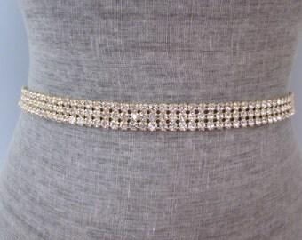 3 Row Gold Rhinestone Wedding Sash / Belt, Simple Bridesmaid Sash