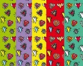 Valentine's Hearts Digital Collage Sheets Paper backgrounds Transfer Bag Print wrapping paper Wallpaper  images for Decoupage 209