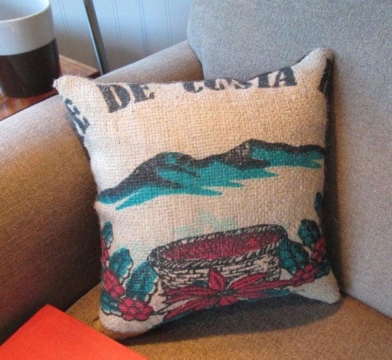 Throw Pillow Recycle : Throw Pillow Recycled Burlap Coffee Sack Pillow Small Burlap