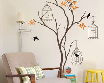"Baby Nursery Tree Wall Decal Wall Sticker - Tree Wall Decal - Tree Decals - Large: approx 86"" x 51"" - KC011"