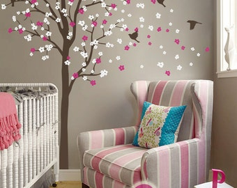 """Baby Nursery Wall Decals - Cherry Blossom Tree Wall Decal - Birds Decal - Large: approx 93"""" x 104"""" - KC010"""