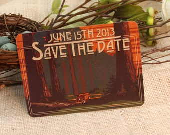 Sequoia Forest with Woody Car Save The Date Postcard: Get Started Deposit or DIY Payment