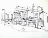 Line Drawing of Broadway Market, London
