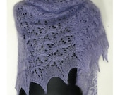 Lavender Blue  Kidsilk Mohair Hand Knitted Triangle Lace Shawlette. Purple Lilac Kid Silk Shawl. MADE TO ORDER.