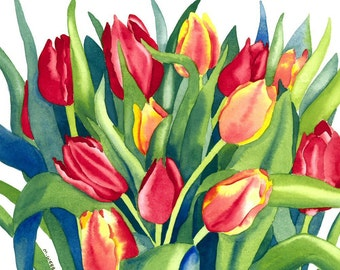 Tulips Botanical Flowers Limited Edition Giclee Print