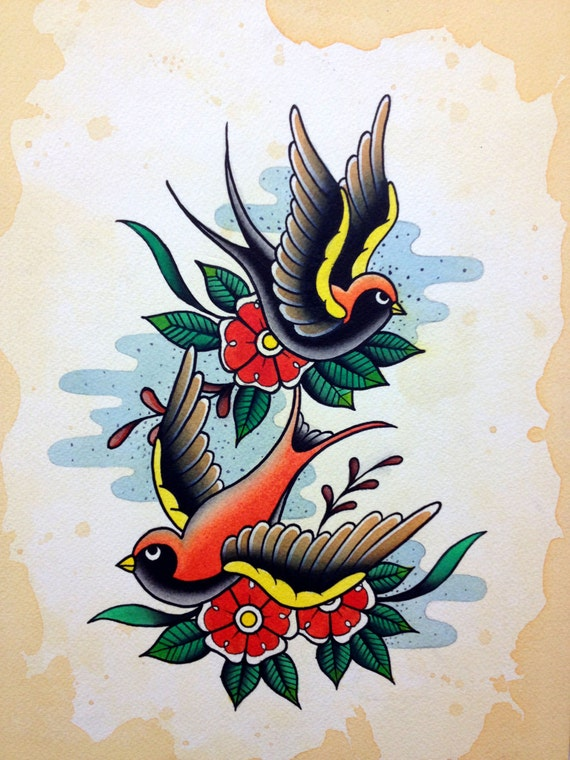 traditional sparrow tattoo flash painting by christinaplatis
