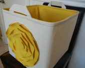 "EEx Large Toy Basket 13""x14""x13""(choose BASKET & LINING color)-Baby Gift-Fabric Organizer Storage Bin-""Mustard Yellow ROSE on Natural/Cream"""