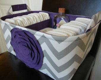 """Ex Large Diaper Caddy-14""""x 10""""x 7""""(CHOOSE COLOR)Two Dividers-Baby Gift-fabric Storage Organizer-Chevron-""""Purple Rose on Grey Zigzag"""""""