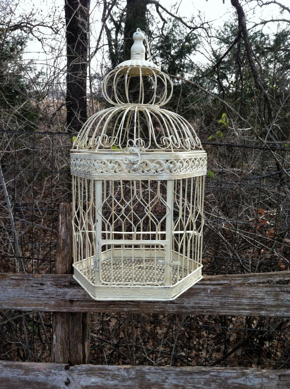 creamy white large hanging bird cage 27 hanging. Black Bedroom Furniture Sets. Home Design Ideas