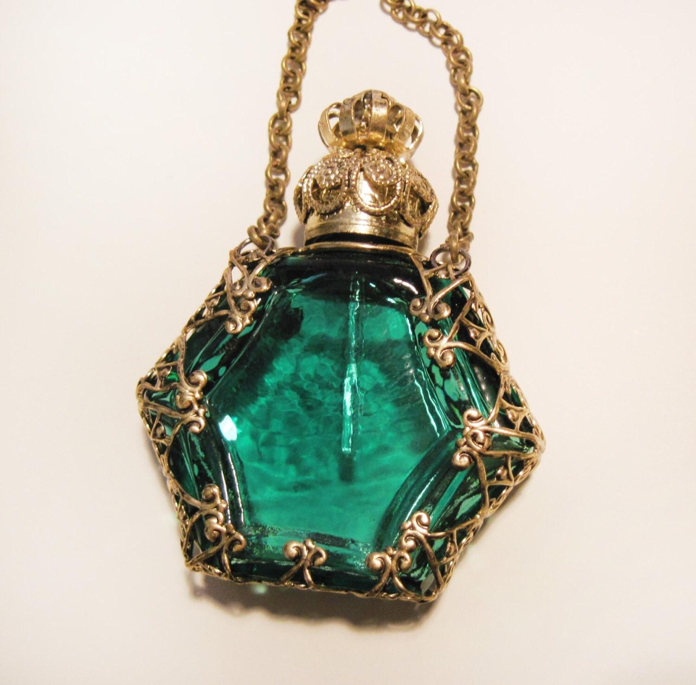 Perfume Bottles Vanilla And Perfume Bottle: Antique Miniature Czech Perfume Bottle Bronze