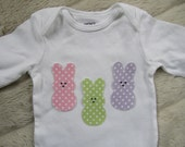 Easter Bunnies Long Sleeve Onesie for Baby Girl, Pastel Polka Dots, Sizes 3 to 24 months available