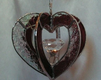Stained Glass Heart Whirl With Ring