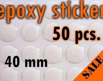 50pcs. 40mm Round Epoxy Sticker