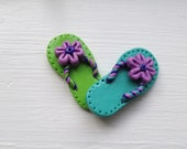 lime green or turquoise and purple summer flip flops, handmade polymer clay button