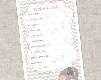 Instant Download - Pink Elephant Wishes For Baby PDF Advice Cards  - A Printable Party Game