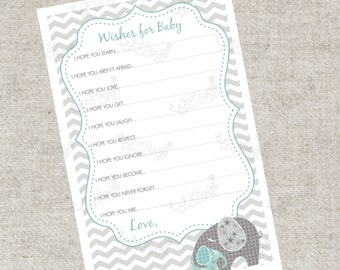 Instant Download - Blue Elephant Wishes For Baby PDF Advice Cards  - A Printable Party Game