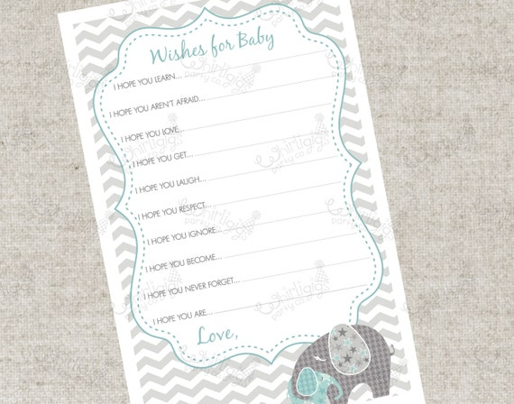 Instant Download - Blue Elephant Wishes For Baby PDF Advice Cards ...