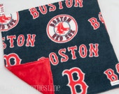 "Baby Lovey Blanket - Boston Red Sox Baseball Navy Blue and Red Lovey 15""x15"" - Ready to Ship"