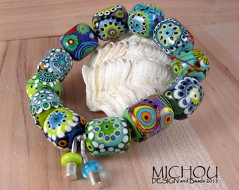 Ocean Breeze - Lampwork Bracelet in white, yellow, lime green and periwinkel by Michou