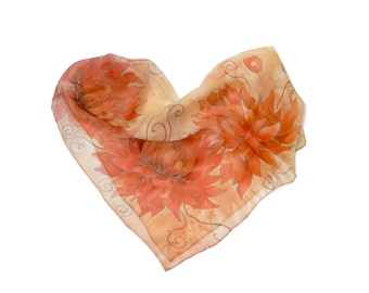 Salmon flowers hand painted silk scarf . Rose and salmon, orange and coral silk scarf. Gift under 50.  Ready to ship.