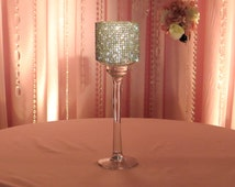 """Crystal Covered Candleholder - glass, stemmed, 13 1/2"""" tall"""