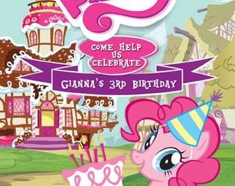 MLP My Little Pony Pinkie Pie Invitation Digital File 4X6 or 5X7