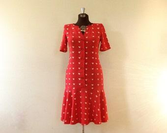 Vintage Emanuel Ungaro Dress / Small/Med / Solo Donna Hearts Dress