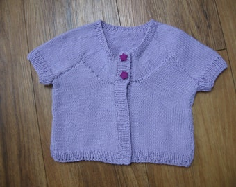 3-6 month lilac colored baby cardigan