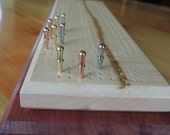 Tiger Curly Maple and Purple Heart Wood Deluxe Cribbage Board