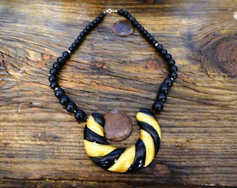 Black and Gold Bohemian Necklace