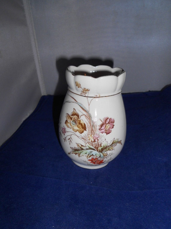 Antique A J WILKINSON England Royal Semi porcelain vase brown transferware pretty vase