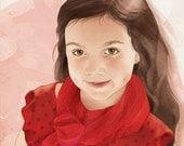 Custom Color Illustrated Child Portrait Digital Format