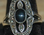 Vintage Sterling Silver Onyx and Marcasite Ring Size 6 Art Deco