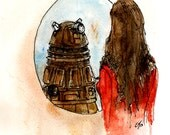 """Doctor Who """"I'm Human"""" 5x7 Print of my original illustration inspired by """"Asylum of the Daleks"""