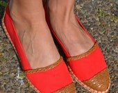 Vintage Liz Claiborne Perfect Red Flats With Hemp and Leather Braiding FREE SHIPPING
