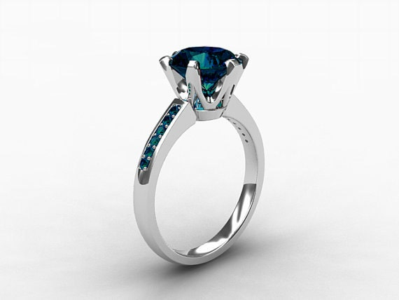 Items similar to 2 50ct London blue topaz ring teal Diamond white gold Eng