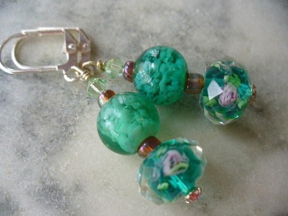 Green Flower Crystal and Green Marble Beaded Earrings