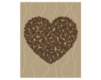 Coffee Kitchen Art Print Coffee Beans Illustration Love Coffee Print Heart Coffee Poster Drink Coffee Decor Home Office Brown