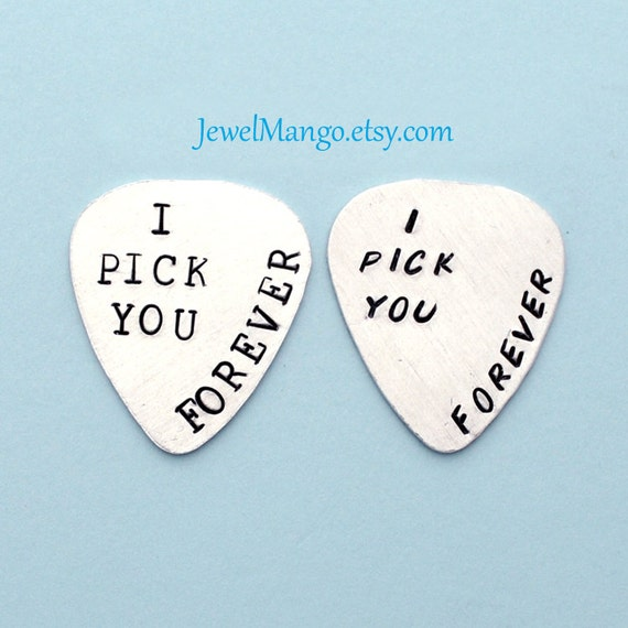 Personalized Guitar Pick Hand Stamped, custom Guitar Pick, father's day gifts, grandpa rocks, I pick you forever