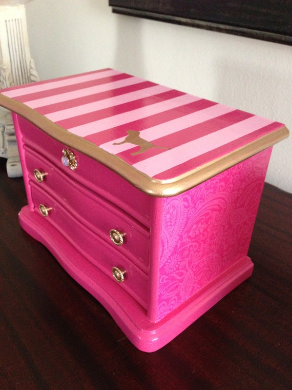 vintage up cycled jewelry box inspired by victoria secret pink