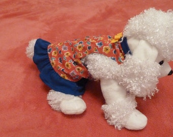 Dog Clothes, Puppy Clothes, Dog Dress, Adorable Extra Small  Size Toy Puppy Dress with Blue Ruffle on a Coral Red Floral Print.
