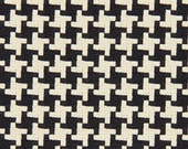 Black Woven Houndstooth Upholstery Fabric - Black White Heavyweight Geometric Furniture Fabric - Houndstooth Pillow Cushion Covers