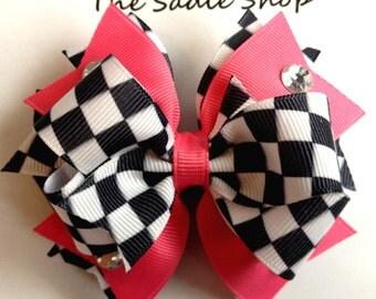Checkered Flag - Race Boutique Bow - Nascar Indy Car Bow