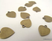 Small Antiqued Gold Heart Charms, 11 x 10 mm, 10 Pieces