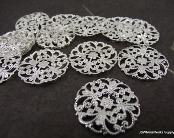 Silver Plated Filigree Rounds, 22mm, 24 Pieces