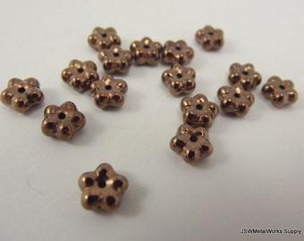 Preciosa Czech Glass Beads, Flower Rondelle, Copper, 7 x 3 mm, 8 Inch Strand
